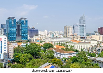 Ho Chi Minh City, Vietnam - 4 April, 2018: Ho Chi Minh City metropolis with its old french styled hotels and new modern buildings of the Caravelle Hotel, Sheraton hotel and Vincom Center Shopping