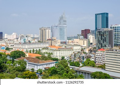 Ho Chi Minh City, Vietnam - 4 April, 2018: Ho Chi Minh City metropolis with its old french styled hotels and new modern buildings of the Caravelle Hote and Sheraton hotel in the middle