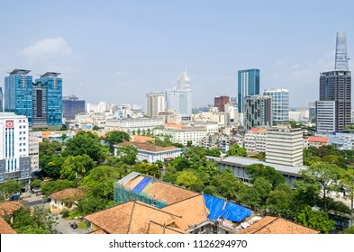 Ho Chi Minh City, Vietnam - 4 April, 2018: Ho Chi Minh City metropolis with Vincom Center Shopping Mall to the left, Caravelle Hotel, Sheraton hotel and Bitexco Financial Tower to the right