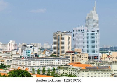 Ho Chi Minh City, Vietnam - 4 April, 2018: View of the fast growing and built up center of Saigon with the Opera View building owned by Artex Saigon with five-star hotels Caravelle and Sheraton