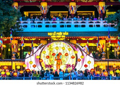 Ho Chi Minh City, Vietnam - May 28, 2018: Buddha's Birthday attracts many Buddhists to crowded to visit, revered Buddha in the evening at Phap Hoa Temple in Ho Chi Minh City, Vietnam.