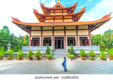 Ho Chi Minh City, Vietnam - May 29, 2018: Architecture temple in  morning Buddha's birthday decorated flowers, flags, front yard attracted  Buddhists visit cultural spiritual in Ho Chi Minh, Vietnam