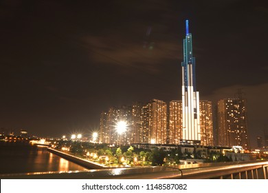 Ho Chi Minh city, Vietnam - August 2 2018:  skyline with landmark 81 building and saigon river at night. Landmark 81 is the tallest skycrapper in Vietnam.