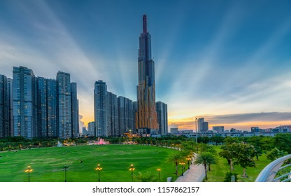 Ho Chi Minh City, Vietnam - August 1st, 2018: Panoramic skyscrapers at sunset with sky impressive in apartment, architectural extended life material development people in Ho Chi Minh City, Vietnam