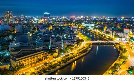 Ho Chi Minh city/ Vietnam: One corner of Nhieu Loc Canal, Ho Chi Minh City at night.