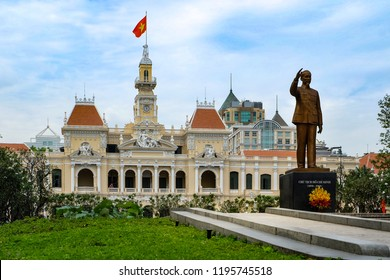 Ho Chi Minh City, Vietnam : January 2, 2017 : View of Ho Chi Minh statue in front of City Hall or Saigon City Hall, French colonial architecture.