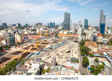 HO CHI MINH CITY, VIETNAM - SEPTEMBER 30, 2018: The vast sprawl of buildings in Ho Chi Minh City, otherwise known as Saigon in Vietnam