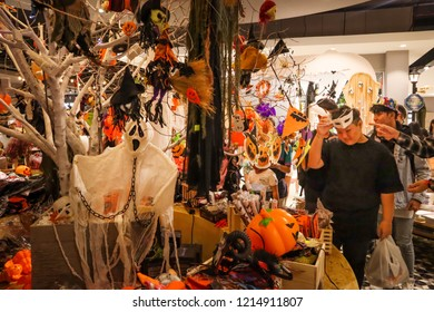 Ho Chi Minh City, Vietnam October 28 2018: People come to the mall to buy decorations and costumes for the Halloween occasion.