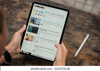 "Ho Chi Minh city / Vietnam - Nov 19th 2018: Review Apple iPad Pro 11"" 2018"