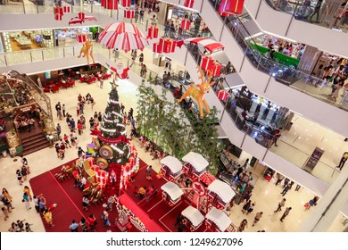 Ho Chi Minh City, Vietnam - December 05 2018: People take pictures and have fun at Christmas in a big shopping center in Ho Chi Minh City