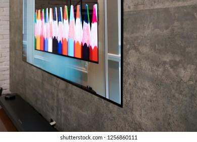 Ho Chi Minh city / Vietnam - Dec 12th 2018: Review OLED TV LG W8 Signature
