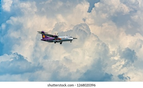 Ho Chi Minh City, Vietnam - September 9th, 2018: Cambodia angkor air atr 72 landing into Tan Son Nhat International Airport in Ho Chi Minh City, Vietnam. It is the busiest airport in Vietnam