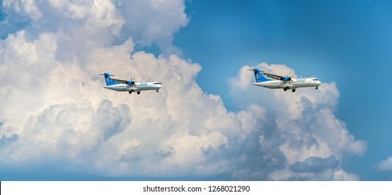 Ho Chi Minh City, Vietnam - September 9th, 2018: Vasco airplane with registration Atr72 landing at Tan Son Nhat International Airport in Ho Chi Minh City, Vietnam. Vasco belongs to Vietnam Airlines