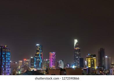Ho Chi Minh city, Vietnam skyline by night