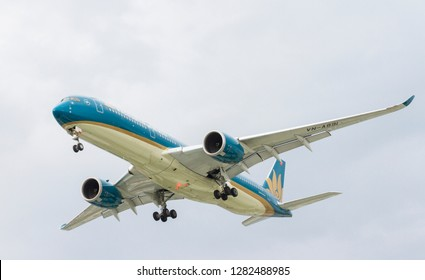 Ho Chi Minh City, Vietnam - April 29, 2018 : Vietnam Airlines Airbus A350-900 (VN-A891) landing at Tan Son Nhat In't Airport (SGN) on the afternoon