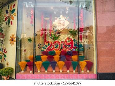 Ho Chi Minh City, Vietnam - Jan 26, 2019: Decoration for Vietnamese Lunar New Year in Takashimaya, Le Loi Str, District 01.