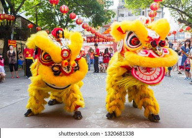 Ho Chi Minh City, Vietnam - February 4, 2019 : Lion dance performances in Sai Gon on Vietnamese New Year