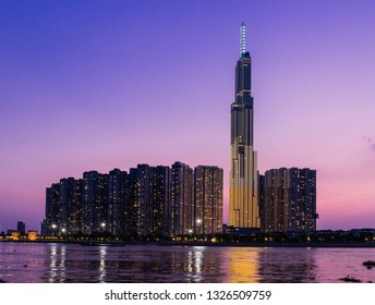 Ho Chi Minh City, Vietnam - February 25, 2019:  Landmark 81 is a super-tall skyscraper in Ho Chi Minh City, Vietnam at night. Landmark 81 is the tallest building in Vietnam and the 14th tallest buildi
