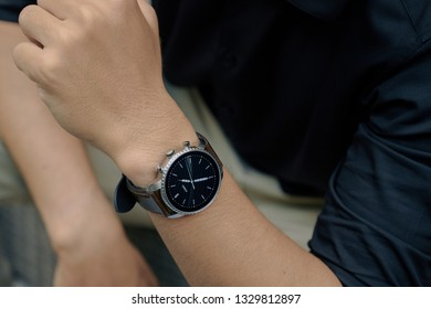 Ho Chi Minh city / Vietnam - Mar 05th 2019: Review smartwatch Fossil Q Explorist HR