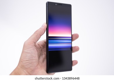 Ho Chi Minh city / Vietnam - Mar 20th 2019: Review smartphone Sony Xperia 1, a new technology from Sony