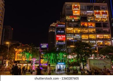 Ho Chi Minh City / Vietnam, March 03 2019: the cafe apartment is a new tourist attraction in Saigon located at 42 Nguyen Hue, District 1 at night.