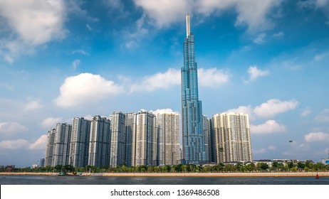 Ho Chi Minh City / Vietnam - April 12th 2019: View of Vinhomes Central Park and the Landmark 81 building in the morning, Ho Chi Minh City, Vietnam