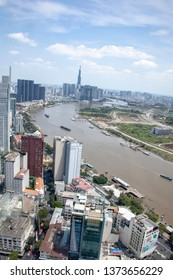 Ho Chi Minh City, Vietnam - March 9, 2019 :  Aerial view of skyling in Ho Chi Minh City, or Saigon, Vietnam with modern architecture along Saigon River.