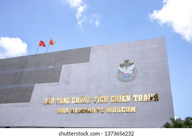 Ho Chi Minh City, Vietnam - March 9, 2019 :  Entrance to War Remnants Museum in Ho Chi Minh City, or Saigon, Vietnam.