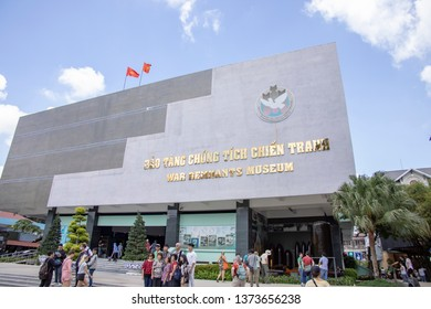 Ho Chi Minh City, Vietnam - March 9, 2019 :  Tourists at entrance to War Remnants Museum in Ho Chi Minh City, or Saigon, Vietnam.