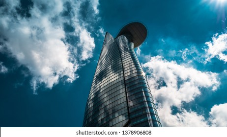 Ho Chi Minh City / Vietnam - April 22nd 2019: View of the iconic landmark in Saigon, Bitexco Financial Tower.