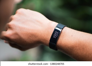 Ho Chi Minh city / Vietnam - Apr 25th 2019: Review Fitbit smartband, a friendly fitness trackers for every day