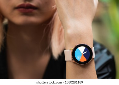 Ho Chi Minh city / Vietnam - Apr 25th 2019: Review Samsung Galaxy Watch Active, it's a fitness watch that actively gives you advice