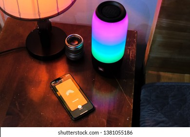Ho Chi Minh city / Vietnam - Apr 26th 2019: Review wireless speaker JBL pulse 3, a SOUND YOU  CAN SEE.