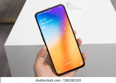 Ho Chi Minh city / Vietnam - Apr 26th 2019: Review Samsung Galaxy A80, be built for those who live their lives in the moment