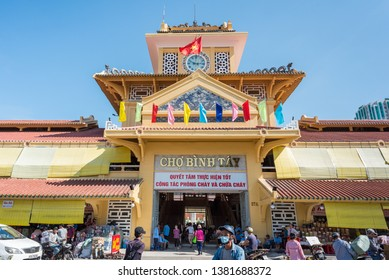 Ho Chi Minh City, Vietnam - April 15, 2019: the exterior of the central entrance and the tower of Cho Binh Tay market in Cho Lon (Cholon), a Chinatown.