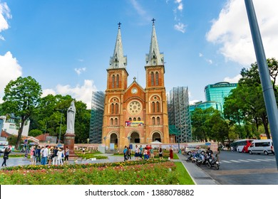 Ho Chi Minh City / Vietnam - May 2019: Notre Dame Cathedral Basilica on blue sky background - Basilica of Our Lady of The Immaculate Conception