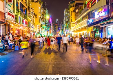 HO CHI MINH CITY, VIETNAM - CIRCA FEBRUARY 2018: View on the busy nightlife in the famous Bui Vien street circa February 2018 in Ho Chi Minh City, Vietnam.