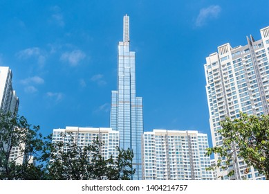 Ho Chi Minh City, Vietnam - February 19, 2019: Landmark 81 among other high-rise buildings of Vinhomes Central Park urban area.