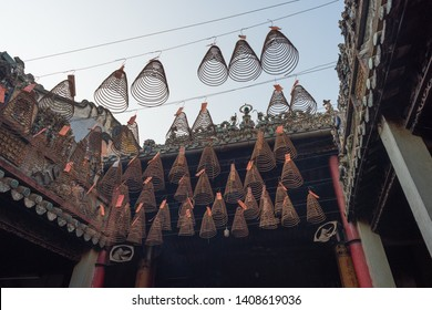 Ho Chi Minh City, Vietnam - April 26, 2019: hanging spiral incense sticks in Thien Hau Pagoda. Thien Hau Pagoda is one of the highlights of Cho Lon, Saigon Chinatown.