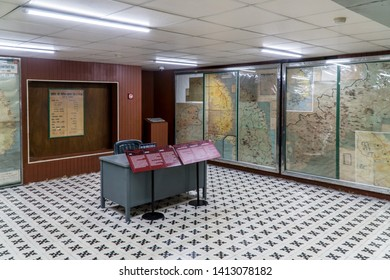 Ho Chi Minh City / Vietnam - May 19th 2019: Command Center in the bunker under the Reunification Palace.