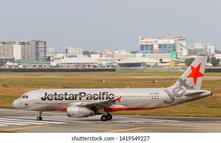 Ho Chi Minh City, Vietnam - April 29, 2018 : Jetstar Pacific Airbus A320-232 (Reg VN-A559) on taxi way at Tan Son Nhat International Airport (SGN/VVTS)