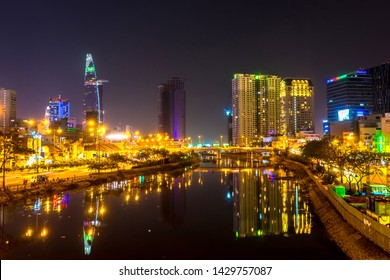 HO CHI MINH CITY, VIETNAM - CIRCA FEBRUARY 2018: View of the river and the skyline in Ho Chi Minh City at night circa February 2018 in Ho Chi Minh City, Vietnam.