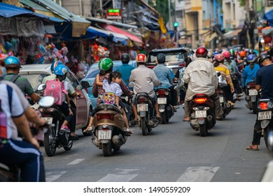 Ho Chi Minh city, Vietnam - Aug 27, 2019: the lantern streets in Cho Lon (Chinatown) at Luong Nhu Hoc street and nearby crowded with shop sell colorful lanterns, people come to visit and photograph