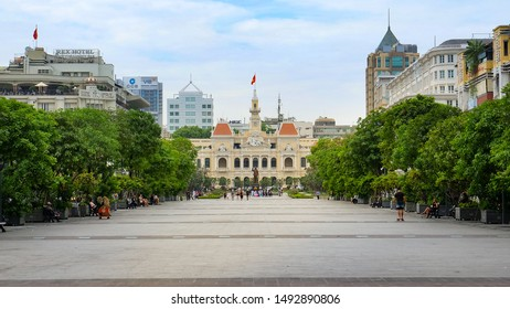 Ho Chi Minh City, Vietnam : January 3, 2017 : View of Ho Chi Minh Square   with People's Committee of Ho Chi Minh City or City Hall.