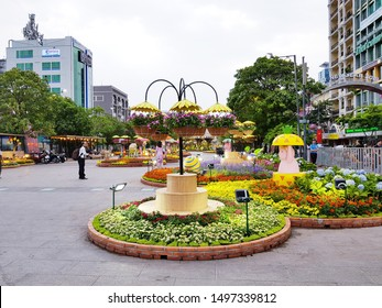 Ho Chi Minh city, Vietnam - 16 Jan 2017 - Nguyen Hue street was decorated by various kind of flowers in Tet holidays, Vietnam Lunar New Year