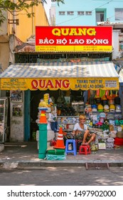 Ho Chi Minh City, Vietnam - 14 April 2010 - A small shop named Quang, which sells household goods. Image has copy space.
