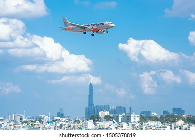 Ho Chi Minh City, Vietnam - September 11th, 2019: Airplane airbus A320 of Jetstar Pacific flying through sky prepare to landing at Tan Son Nhat International Airport, Ho Chi Minh City, Vietnam