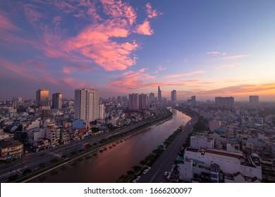 Ho Chi Minh city, Vietnam November 13rd 2019: Beautiful night city, cityscape of Ho Chi Minh city, Vietnam, modern futuristic architecture nighttime illumination, luxury traveling concept.