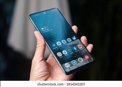 Ho Chi Minh city / Vietnam - Sep 14th 2020: Review Samsung Galaxy A51