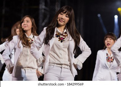 Ho Chi Minh City, VietNam - March 22: Tae Yeon (SNSD, Girls' Generation band) dance and sing on stage at the Human Culture Equilibrium Concert Korea Festival in Viet Nam on March 22, 2014.